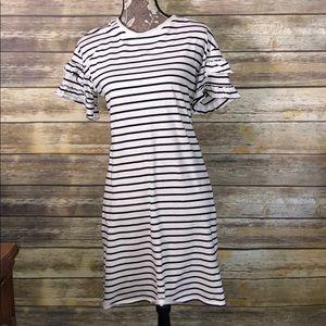 ADRIANNA PAPELL Stripe black white ruffle dress M